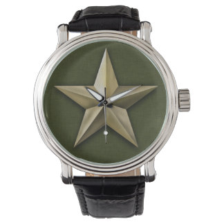 Brushed gold tone star on green texture watch