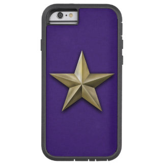 Brushed gold tone star on purple texture tough xtreme iPhone 6 case