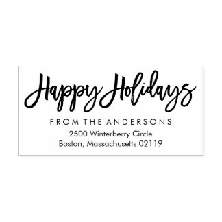 Brushed Happy Holidays Return Address Rubber Stamp