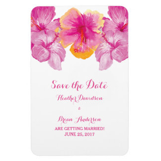 Brushed Hibiscus Floral Save the Date Flexi Magnet