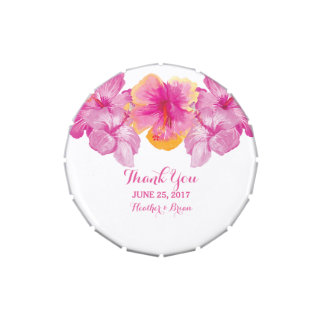 Brushed Hibiscus Floral Wedding Candy Tin