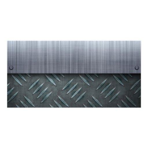 Brushed Metal Diamond Plate Template Photo Greeting Card