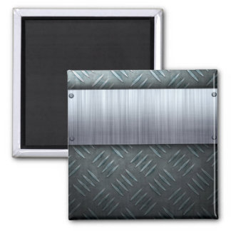 Brushed Metal Diamond Plate Template Square Magnet