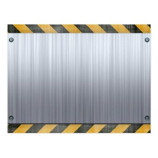 Brushed Metal Hazard Construction Layout Postcards