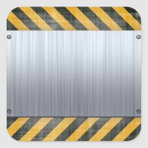 Brushed Metal Hazard Construction Layout Square Sticker