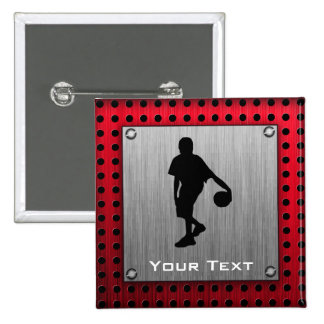 Brushed metal look, Basketball; red Pinback Buttons
