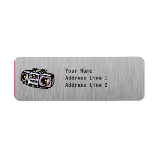 Brushed Metal-look Boombox Return Address Label