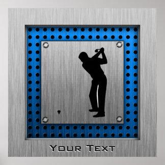 Brushed metal look Golf Poster
