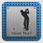 Brushed metal look Golf Square Sticker