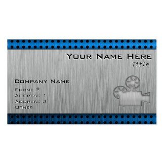 Brushed Metal-look Movie Camera Double-Sided Standard Business Cards (Pack Of 100)