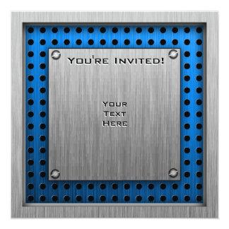 Brushed Metal-look Movie Camera 13 Cm X 13 Cm Square Invitation Card