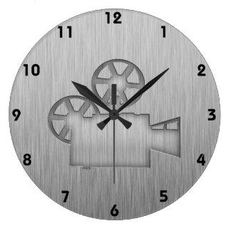 Brushed Metal-look Movie Camera Large Clock