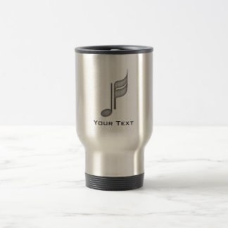 Brushed Metal-look Music Note Stainless Steel Travel Mug