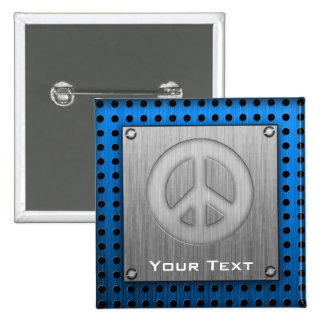 Brushed metal-look Peace Sign 15 Cm Square Badge