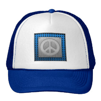 Brushed metal-look Peace Sign Trucker Hats