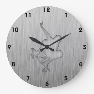 Brushed Metal-look Skateboarding Wallclocks