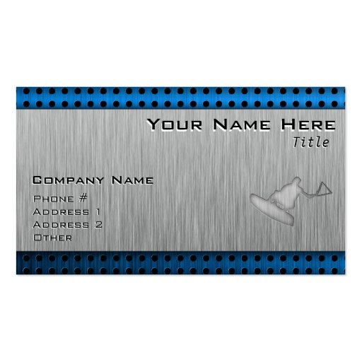 Brushed Metal-look Wakeboarder Business Cards