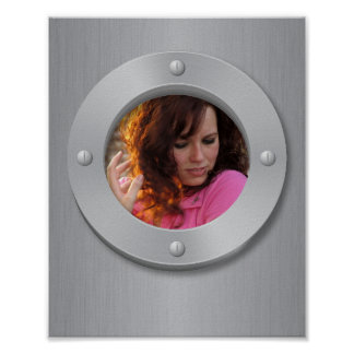 Brushed metal look with round frame poster