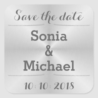 Brushed Metal Save The Date Square Sticker