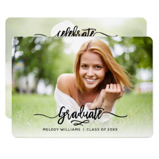 Brushed Modern Script 2 Photo Graduation Party Card