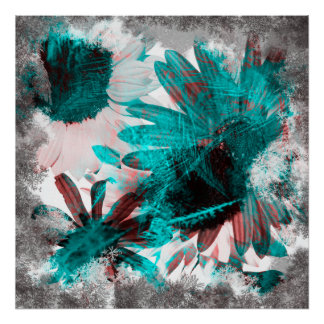 Brushed Negative Gothic Flowers Print