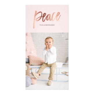 Brushed Peace Rose Gold Holiday Photo Card