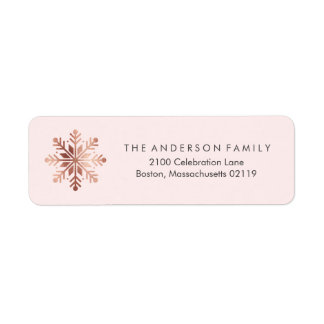 Brushed Peace Rose Gold Return Address Label