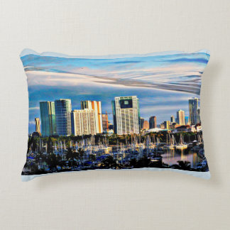 Brushed Poly Accent Pillow - Honolulu Skyline