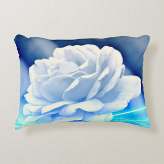 Brushed Polyester Throw Pillow -White Rose on Blue