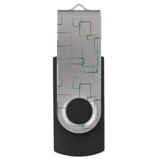 Brushed Rectangle Print 16GB Flash Drive Swivel USB 2.0 Flash Drive