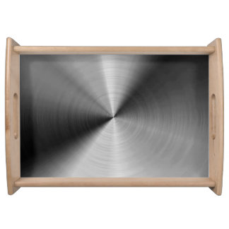 Brushed silver metal print serving tray