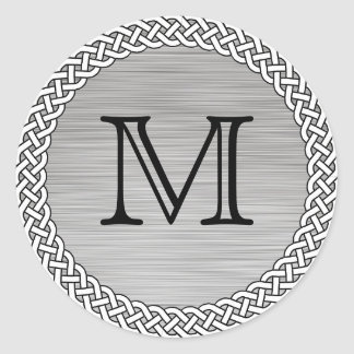 Brushed Silver Monogram Stickers