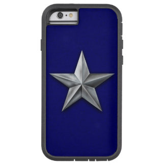 Brushed silver tone star on blue texture tough xtreme iPhone 6 case