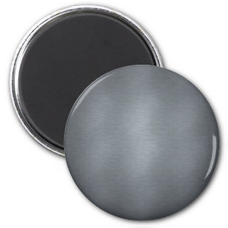 Brushed Steel 6 Cm Round Magnet
