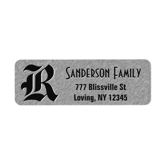 Brushed Steel Foil Look with Monogram Return Address Label
