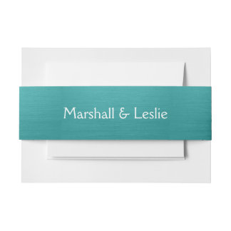 Brushed Teal Invitation Belly Band