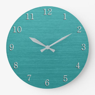 Brushed Teal Metal Look kash001 with White Numbers Large Clock