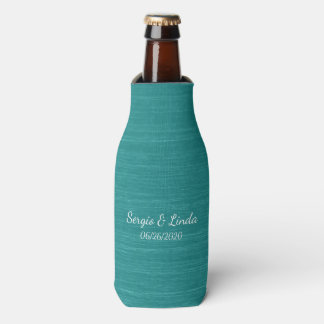 Brushed Teal Name and Date Bottle Cooler
