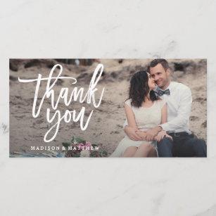 Wedding thank you cards zazzle au brushed wedding thank you photo card junglespirit Image collections