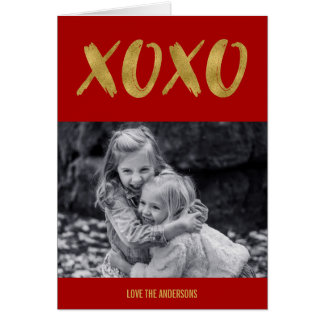 Brushed XOXO Gold Foil Valentine's Day Photo Card