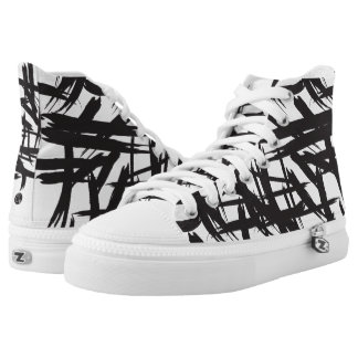 Brushstroke, black and white, abstract pattern high tops