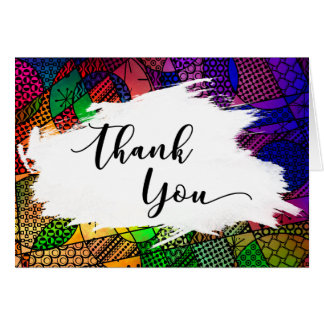Brushstroke & Colorful Geometric Pattern Thank You Card