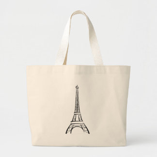 Brushstroke Eiffel Tower Large Tote Bag