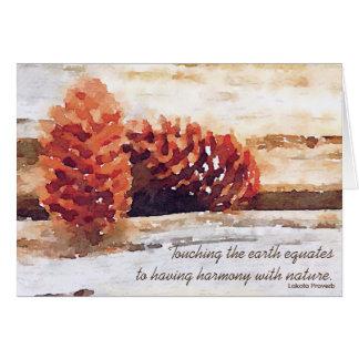 Brushstroke Pine Cones Digital Art Card