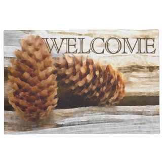 Brushstroke Pine Cones Digital Art Doormat