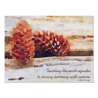 Brushstroke Pine Cones Digital Art Poster