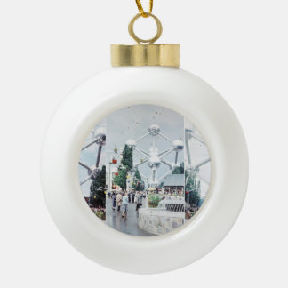 Brussels Atomium Photo Collage Ceramic Ball Christmas Ornament