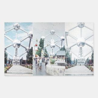 Brussels Atomium Photo Collage Rectangular Sticker