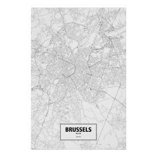 Brussels, Belgium (black on white) Poster