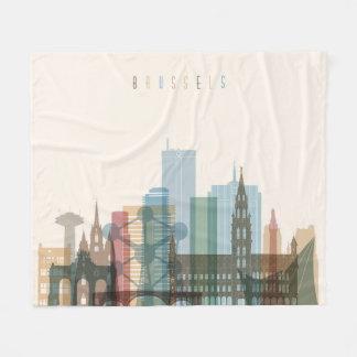 Brussels, Belgium | City Skyline Fleece Blanket